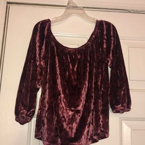 burgundy velvet off the shoulder crop top